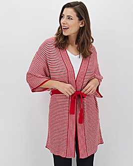 Red And White Kimono Sleeve Cardigan