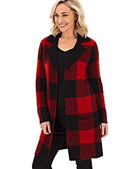 Cosy Red Checked Coatigan