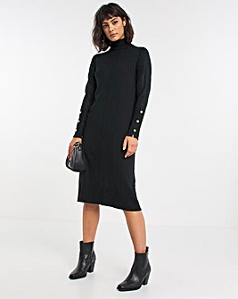 Roll Neck Dress With Buttons