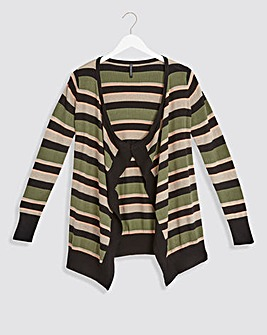 Khaki Stripe Waterfall Cardigan