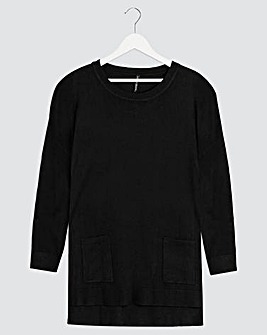 Black Boxy Jumper With Pockets