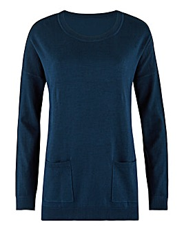 Navy Boxy Jumper With Pockets