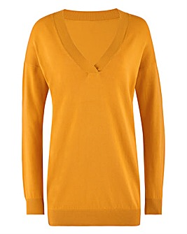 Yellow Slouchy V Neck Tunic