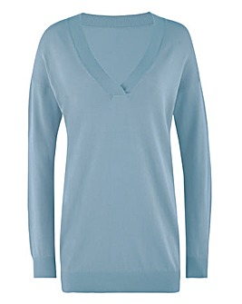 Smokey Blue Slouchy V Neck Tunic