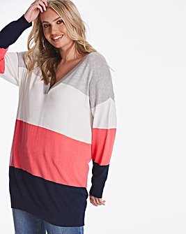 Coral Stripe Slouchy V Neck Tunic