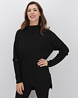 Black Button Sleeve Tunic