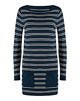 Ivory/Navy Slash Neck Tunic With Pockets