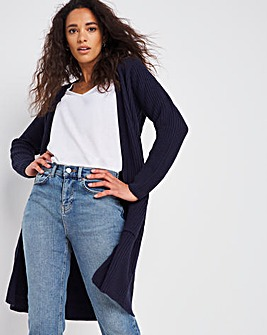Navy Longline Fisherman Rib Cardigan