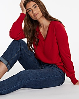 Cashmere Like Jumper With Balloon Sleeve