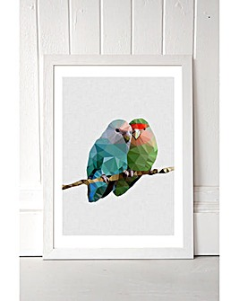 East End Prints Two Love Birds by Studio Cockatoo Framed Art Print