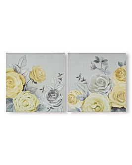 Art for the Home Romantic Roses Set of 2 Printed Canvas