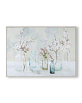 Art for the Home Apple Blossom Bottles Box Famed Printed Canvas
