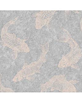 Boutique Pisces Slate Grey Wallpaper