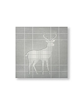 Art for the Home Tartan Stag Stiched Silhouette Printed Canvas