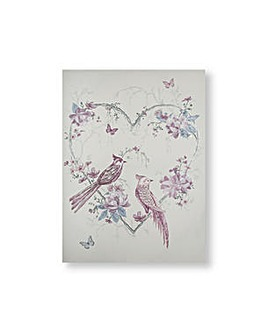 Art for the Home Elegant Songbrids Metallic and Glitter Printed Canvas