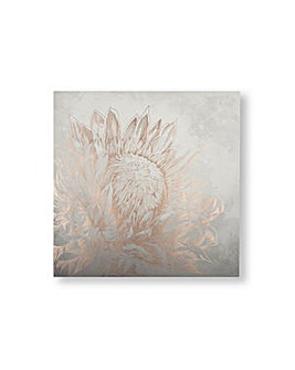 Art for the Home Pretty Protea Metallic Floral Printed Canvas