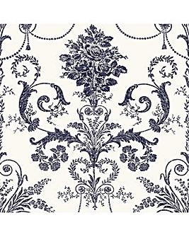 Laura Ashley Josette Off White/Midnight Wallpaper