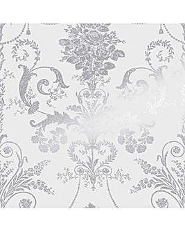 Laura Ashley Josette Metallic Silver Wallpaper