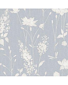 Laura Ashley Dragonfly Garden Chalk Blue Wallpaper