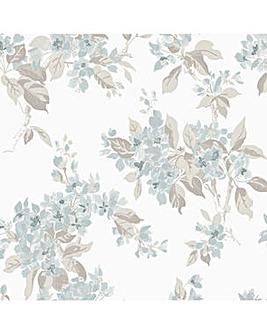 Laura Ashley Apple Blossom Duck Egg Wallpaper