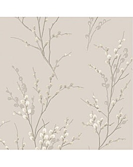 Laura Ashley Pussy Willow Dove Grey Wallpaper