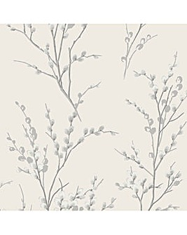 Laura Ashley Pussy Willow Steel Wallpaper