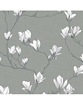 Laura Ashley Magnolia Grove Slate Wallpaper
