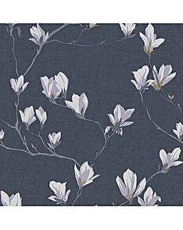 Laura Ashley Magnolia Grove Dusky Seaspray Wallpaper