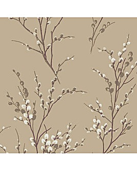 Laura Ashley Pussy Willow Natural Wallpaper