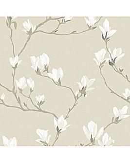 Laura Ashley Magnolia Grove Natural Wallpaper