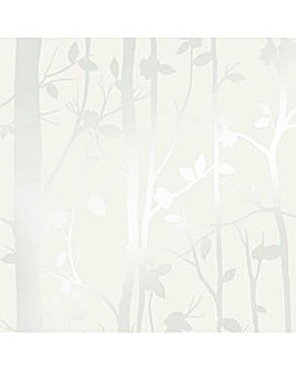 Laura Ashley Cottonwood Pearlescent White Wallpaper