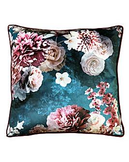 Arthouse Bloom Teal Velvet Cushion