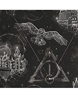 Harry Potter Lumos Glow In The Dark Black Wallpaper