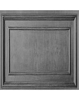 Fresco Wood Panel Dark Grey Wallpaper