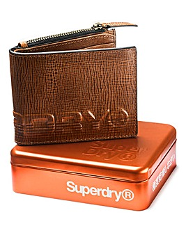 Superdry Leather Wallet in Tin