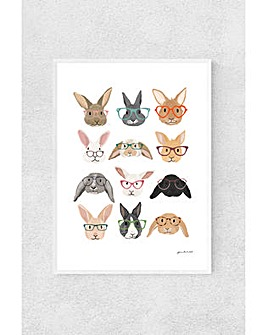 East End Prints Rabbits In Glasses by Hanna Melin Art Print