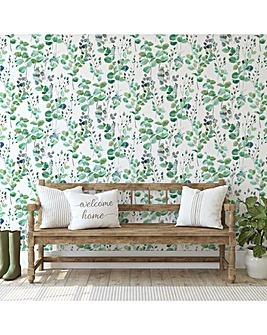 Fresco Green Watercolour Leaf Wallpaper