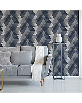 Sublime Navy Decadence Diamond Wallpaper