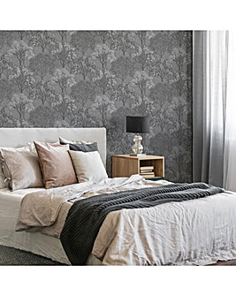 Sublime Grey/Silver Woodland Wallpaper
