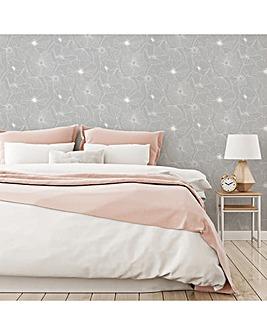 Fresco Grey Linear Floral Wallpaper