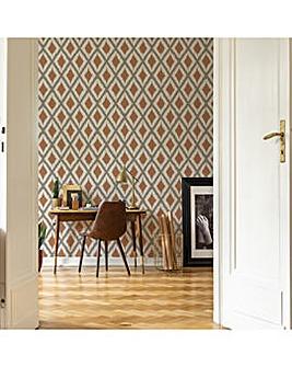 Fresco Rust Ikat Wallpaper