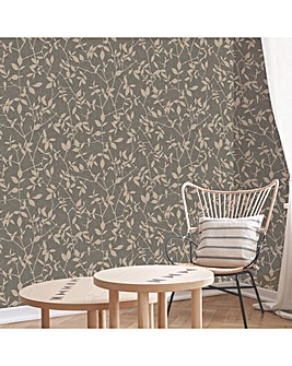 Superfresco Brown/Rose Leaf Wallpaper