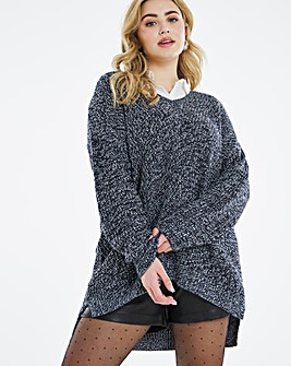 Navy Twist V Neck Jumper