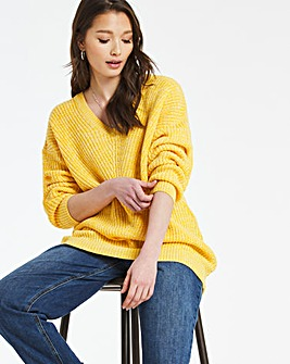 Mustard Twist V Neck Jumper