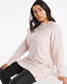 Blush Marl Popper Tunic