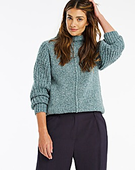 High Neck Ribbed Voulme Sleeve Jumper
