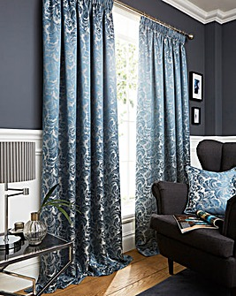 Buckingham Jaquard Pencil Pleat Curtains