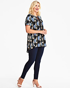 Lovedrobe Print Blouse with Spot Mesh