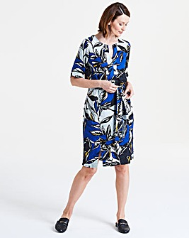 I.Scenery Leaf Print Shift Dress
