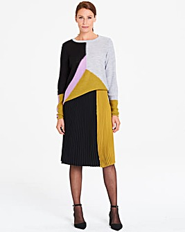 I.Scenery Pleat Panel Midi Skirt
